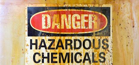 Sign that says Danger Hazardous Chemicals