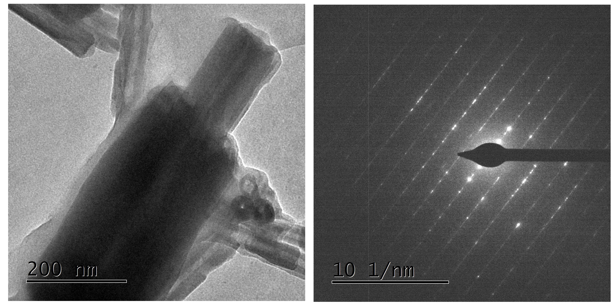 TEM image and electron diffraction pattern of non-asbestiform serpentine fiber from natural occurence in Northern California