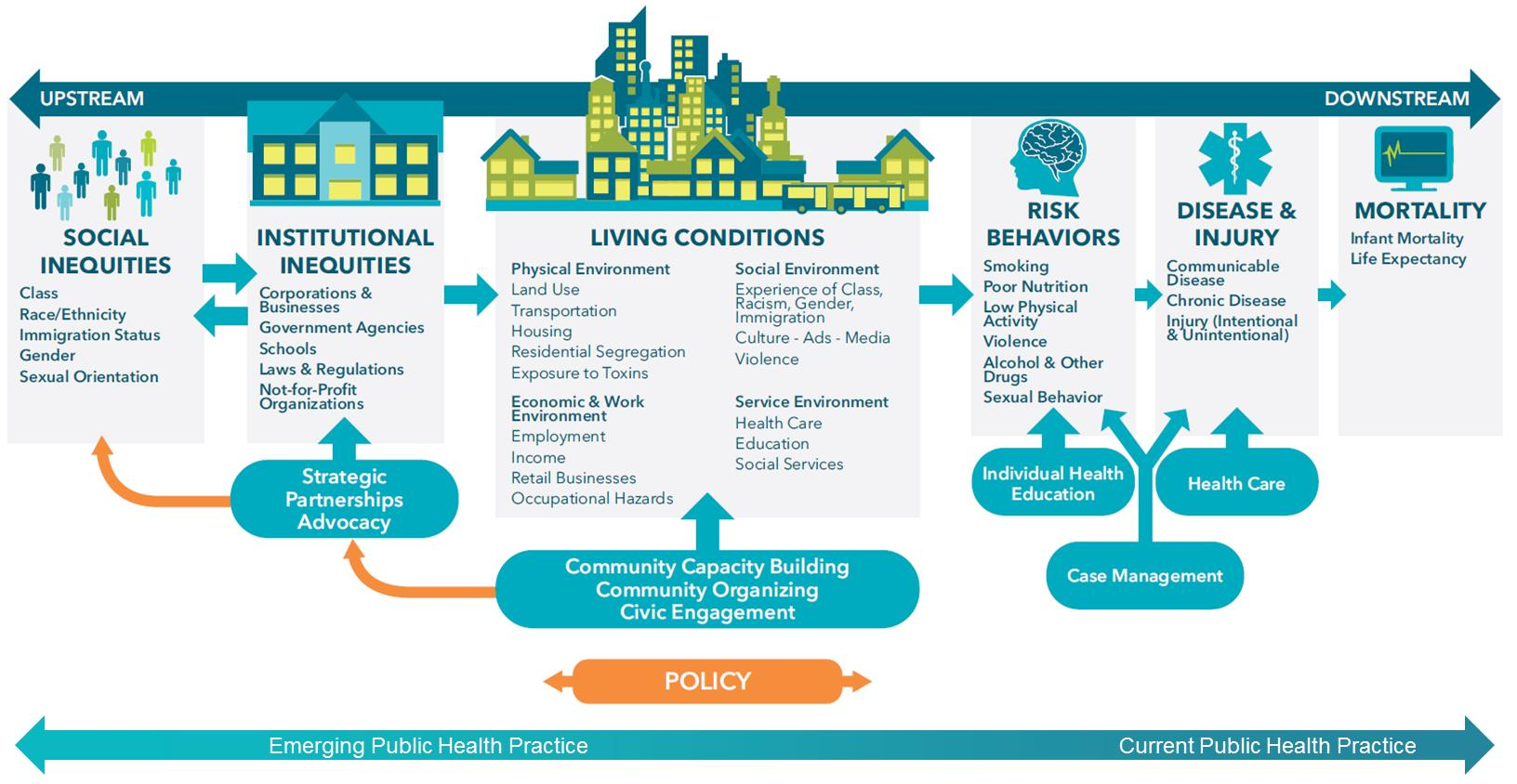 Diagram of the Bay Area Regional Health Inequities Initiative's Conceptual Framework on the social determinants of health