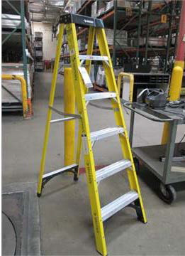 A folding tall ladder similar to the one involved in the accident