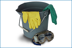 Bucket with gloves, microfiber, and goggles