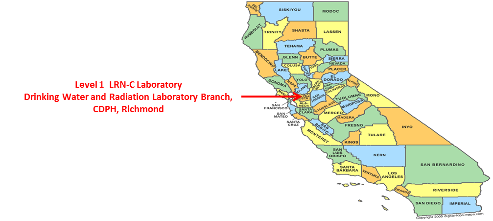 Image of California Map showing LRN-C lab at CDPH, Richmond