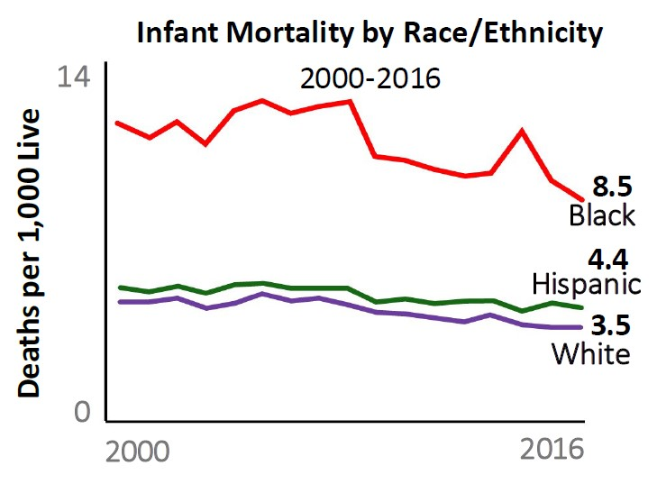2000 to 2016 Death's per 1,000 Live: Black infant mortality trended down to 8.5 Hispanic infant mortality trended down to 4.4 White infant mortality trended down to 3.5
